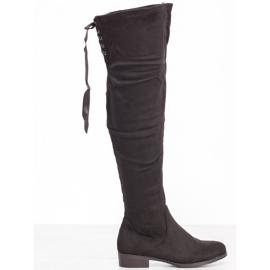 SHELOVET Semišové boty s vázáním černá