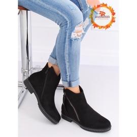 Černé semišové boty černé 6332-1 Černá