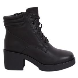 Černé boty s tlustou podrážkou černé 2097 Černé černá