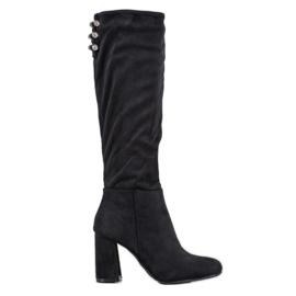 SHELOVET Semišové boty s kubickým zirkonem černá
