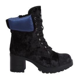 Černé velurové boty K1835203 Negro černá