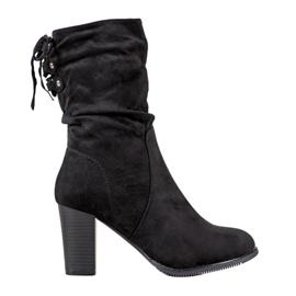 J. Star Vysoké černé boty černá