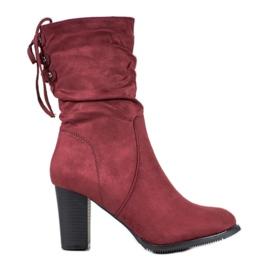 J. Star Vysoké burgundské boty červená