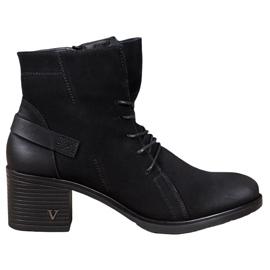 VINCEZA Krajkové kotníkové boty černá