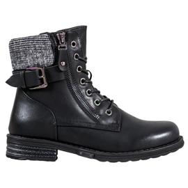 J. Star Krajkové boty vyrobené z ekologické kůže černá