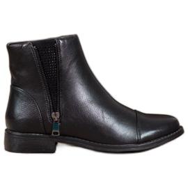 J. Star Elegantní kotníkové boty s krystaly černá