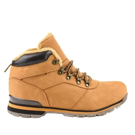 Hnědé izolované pánské turistické boty 9185-3 hnědý