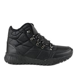 Černé izolované šněrovací boty F118-1 černá