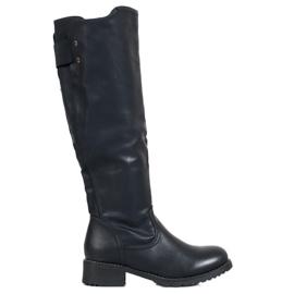 SHELOVET Klasické ekologické kožené boty černá