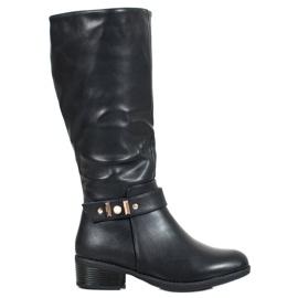 SHELOVET Elegantní kožené boty černá