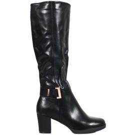SHELOVET Elegantní boty s přezkou černá