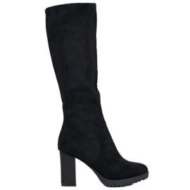 SHELOVET Semišové boty černá