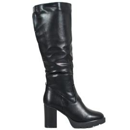 SHELOVET Černé boty s ekologickou kůží černá
