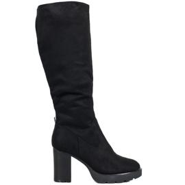 SHELOVET Elegantní boty nad kolena černá