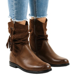 Hnědé zateplené ploché dámské boty 2956 hnědý