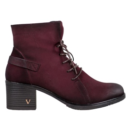 VINCEZA Krajkové kotníkové boty červená
