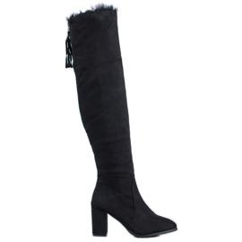 SHELOVET Semišové boty s kožešinou černá