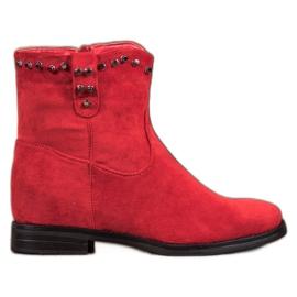 Ideal Shoes Teplé kovbojské boty s kamínky červená
