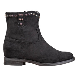 Ideal Shoes Teplé kovbojské boty s kamínky černá