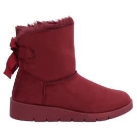 Dámské sněhové boty kaštanové A-3 Wine Red červená