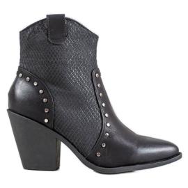 Small Swan Teplé vysoké podpatky kovbojské boty černá