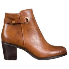 Ideal Shoes Klasické ekologické kožené boty hnědý