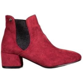 Ideal Shoes Boty Jodhpur se třpytkami červená