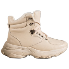 Ideal Shoes Eko kožené tenisky hnědý