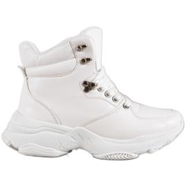 Ideal Shoes Eko kožené tenisky bílá