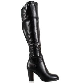 SHELOVET Vysoké boty s ekologickou kůží černá