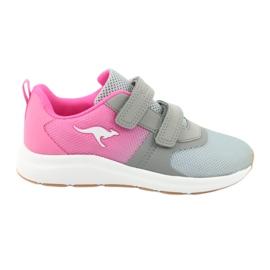 Sportovní obuv KangaROOS se suchým zipem 18506 šedá / neon růžová