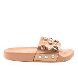 Růžové žabky s perlami H-6567 růžový