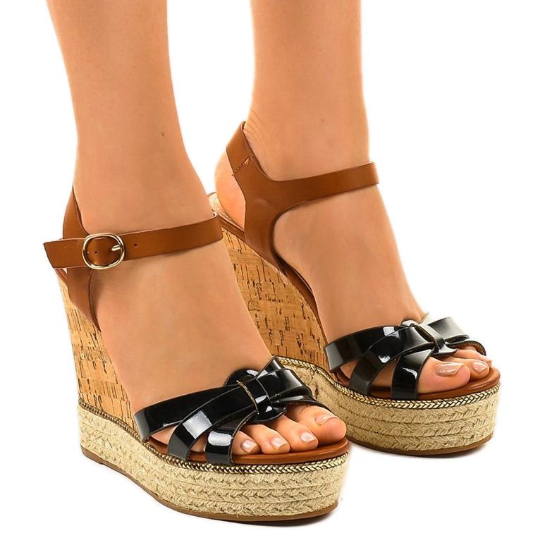 Černé sandály espadrilles na klínu 6032