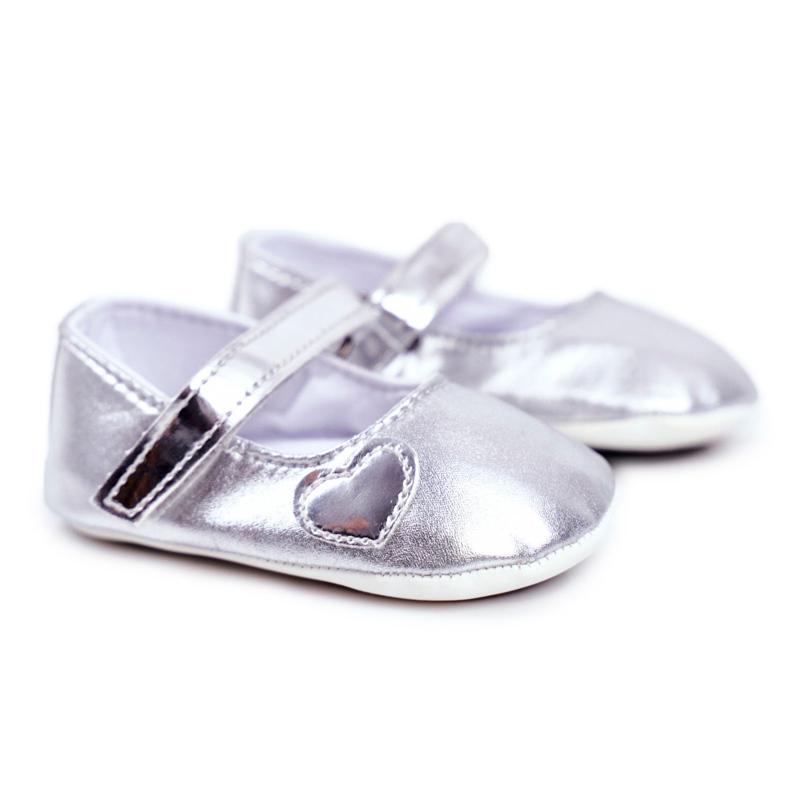 Apawwa Křest dětské tenisky na suchý zip Bellawa Silver šedá
