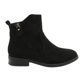 Evento Černé semišové kotníkové boty se zipy černá