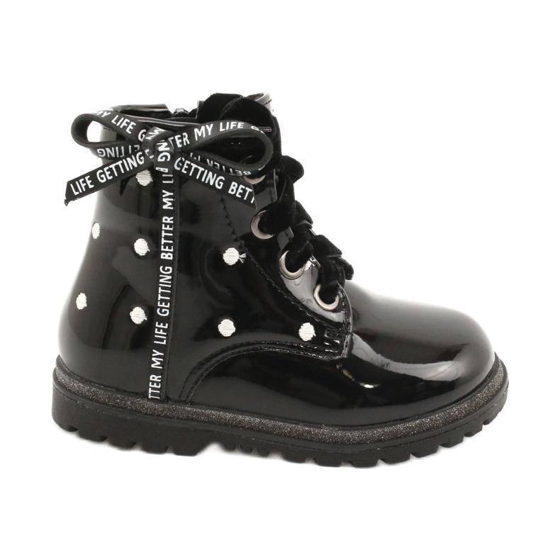 Evento Dívčí boty, lakovaná mašle 20DZ60-3246 černá