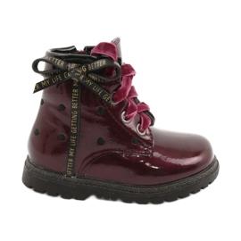 Evento Dívčí boty, lakovaná mašle 20DZ60-3246 WINE černá červená zlato