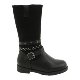 Černé dívčí boty s kubickými zirkony Evento 20DZ60-3229 černá