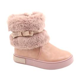 American Club Americké boty na zip GC26 / 20 s kožešinou růžový zlato