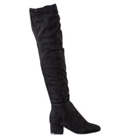 Fashion Černé stehenní vysoké boty černá