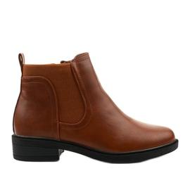 Velbloudí ploché kotníkové boty s Merriva z ekokože hnědý