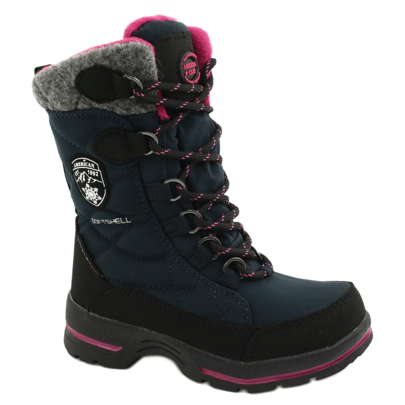 Sněhové boty s membránou American Club SN15 / 20 navy válečné loďstvo růžový šedá