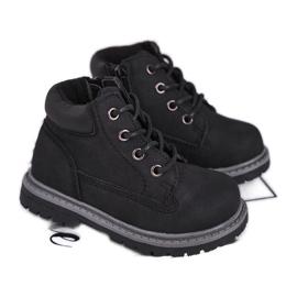 Apawwa Dětské chlapecké černé boty Kozačky Moa černá