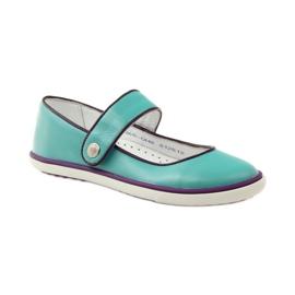 Baletka dětská obuv Bartek 28368 tyrkysová zelená nachový bílá 1