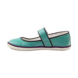 Baletka dětská obuv Bartek 28368 tyrkysová zelená nachový bílá 2
