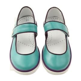 Baletka dětská obuv Bartek 28368 tyrkysová zelená nachový bílá 4
