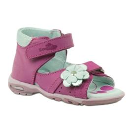 Velcro sandály s květinou Ren But 097 růžový 2