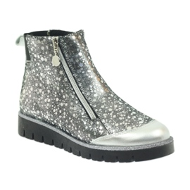 Boty boty izolované Bartek černá-stříbrná šedá 2