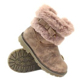American Club Americké boty zimní boty s fur17042 hnědý žlutý růžový 4