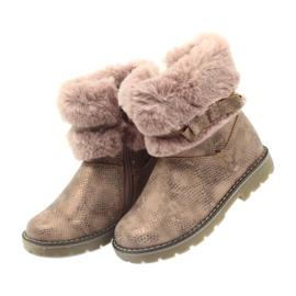 American Club Americké boty zimní boty s fur17042 hnědý žlutý růžový 3